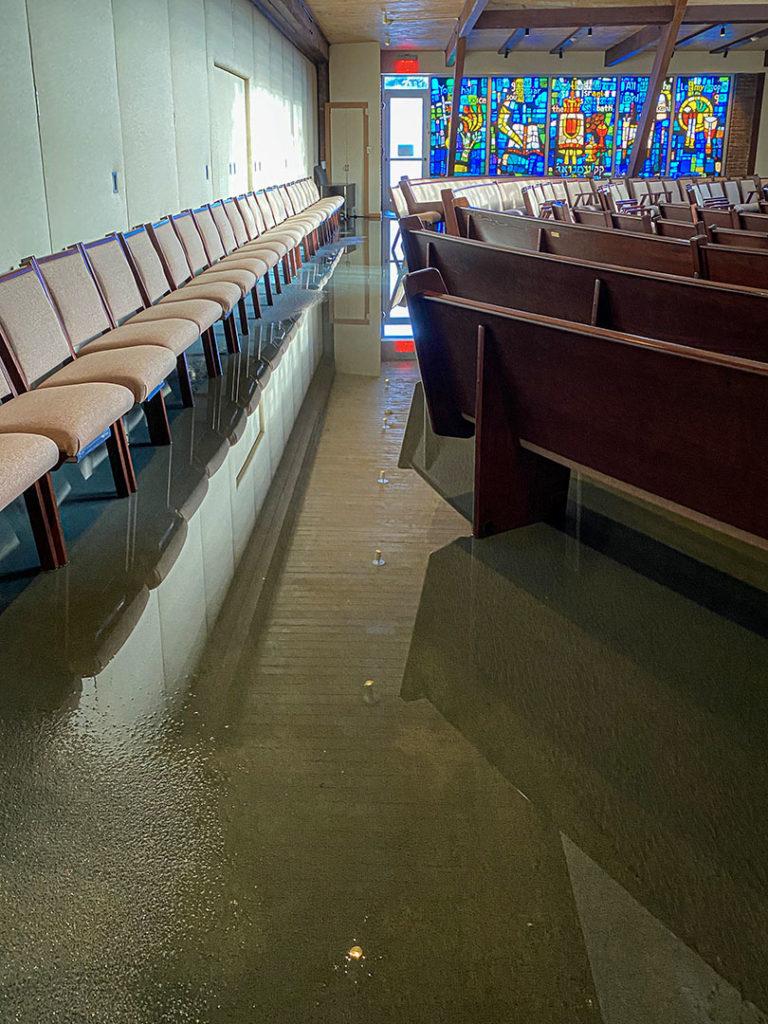 Temple Tikvah experiences severe damage due to Ida