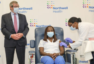 Port Washington's Sandra Lindsay, the first person to receive a COVID-19 vaccine, gets her booster shot